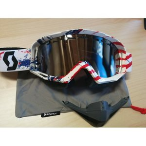 Scott Tyrant Snowcross Weiß Blau Rot Chrome ACS