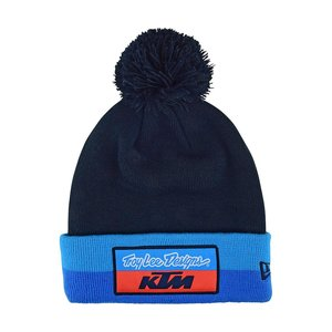 Troy Lee Design KTM Team Beanie Bommel Strick Wolle Blau...